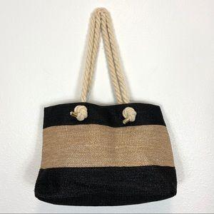 Olivia Miller Gold Metallic & Black Tote Beach Bag